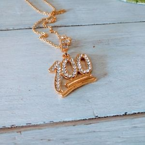 100 percent Gold Emoji Pendant Necklace